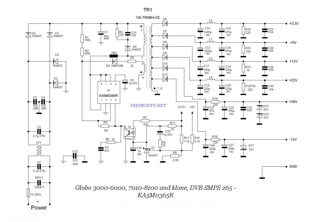 Схема БП тюнера на ШИМ KA5M0365R