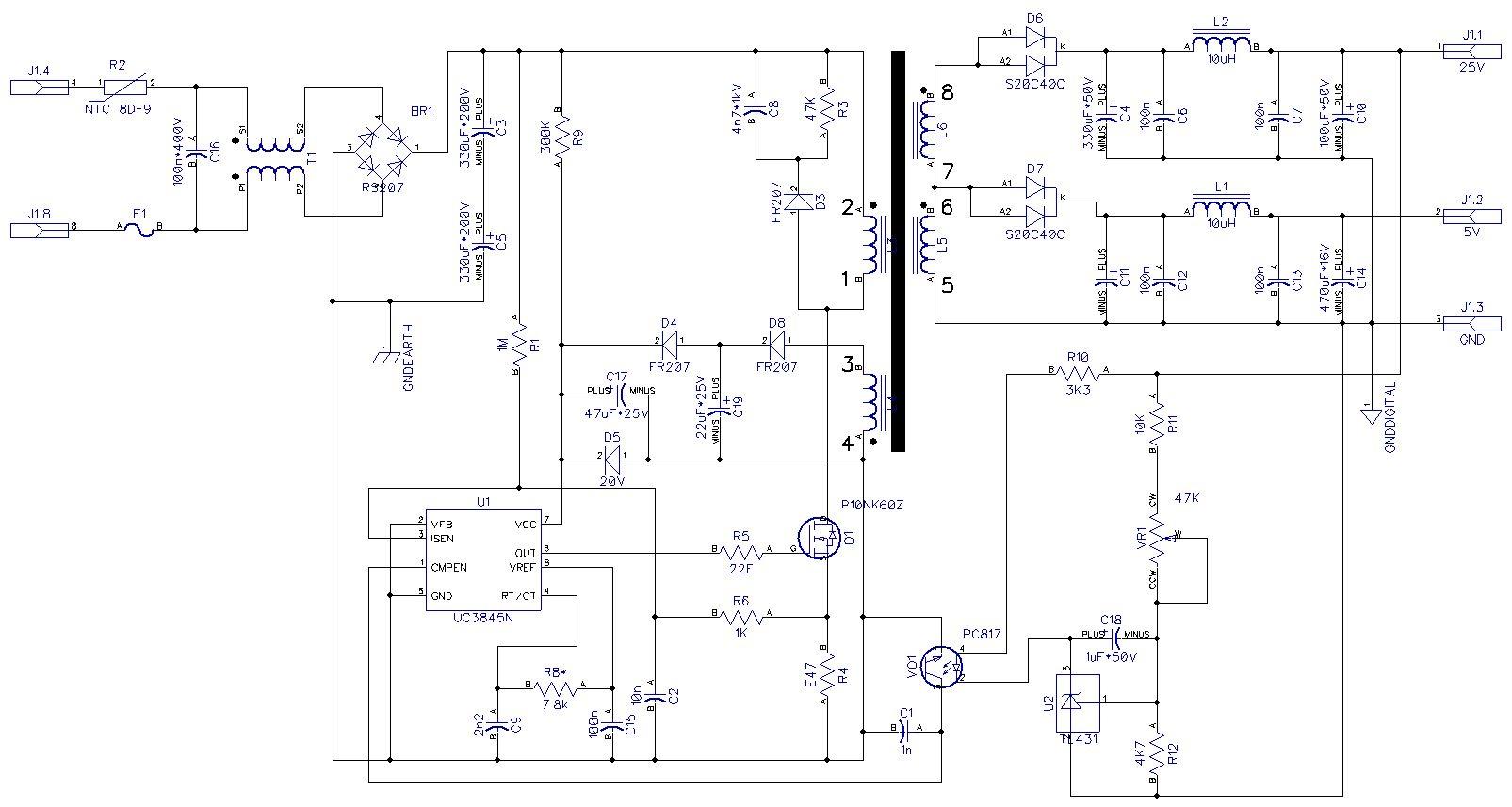 Схема блока питания uc3843an
