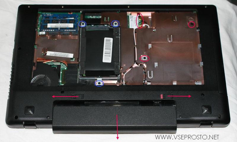 Разборка ноутбука - снимаем  аккумулятор, HDD, wi-fi