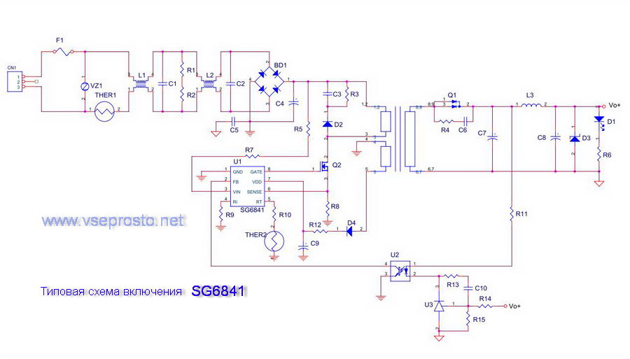 Typical circuit for SG6841
