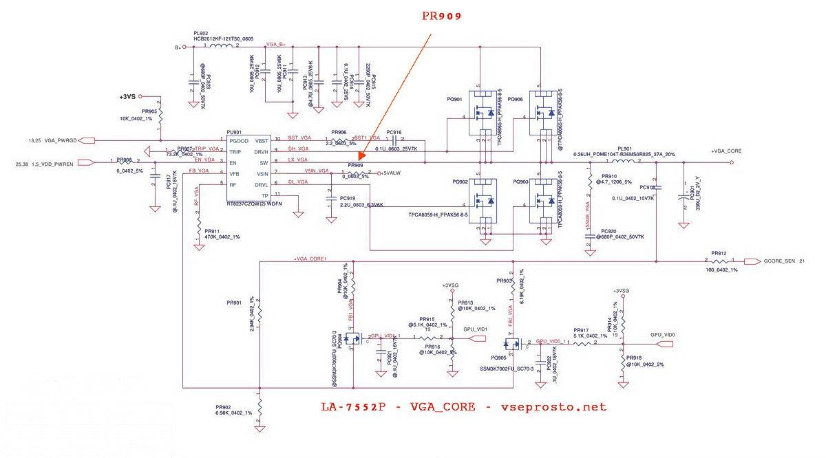 Схема питания ядра видеокарты платформы LA-7552P